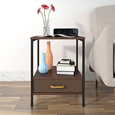 Lifewit 2-Tier Nightstand with Fabric Drawer,Side Table End Table Beside Sofa for Bedroom Living Room, Modern Design, Brown, 15.8 × 15.8 × 20 inches