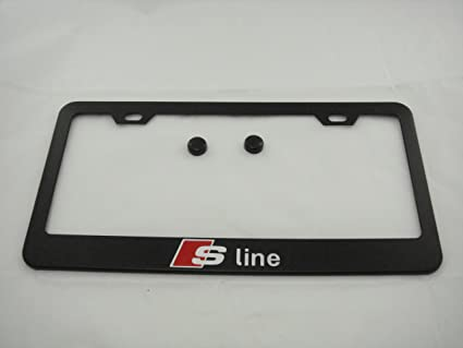 Amazoncom Audi S Line Black License Plate Frame With Caps Automotive - Audi license plate frame