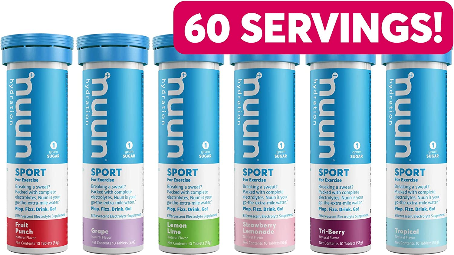 Nuun Sport - Variety Pack - High Electrolytes for Active Hydration (6 Flavors - 60 Tabs)