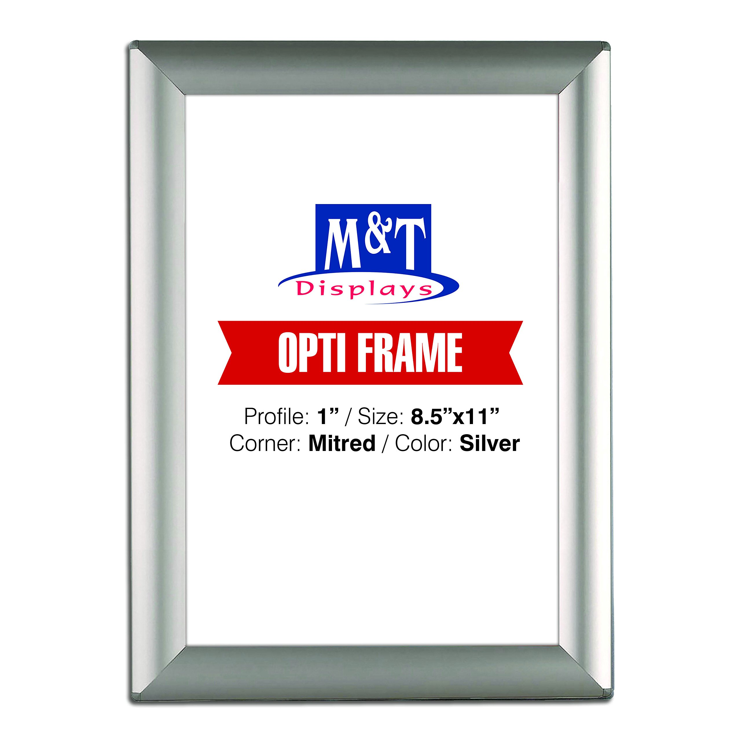 M&T Displays 8.5x11 Picture Photo Frame for Table and Wall, Snap Frame, 1 inch, Front Loading with Back Support - Silver by M&T Displays