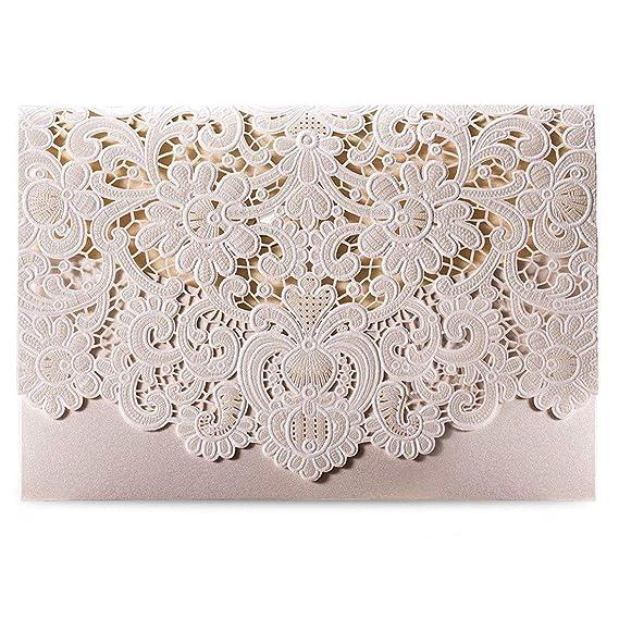 Wishmade 50 Stücke Einladungskarten Hochzeit Weiß Spitze Lasercut Mit Hohlen geprägte Flora Einladung Cardstock Für Bridal Sh