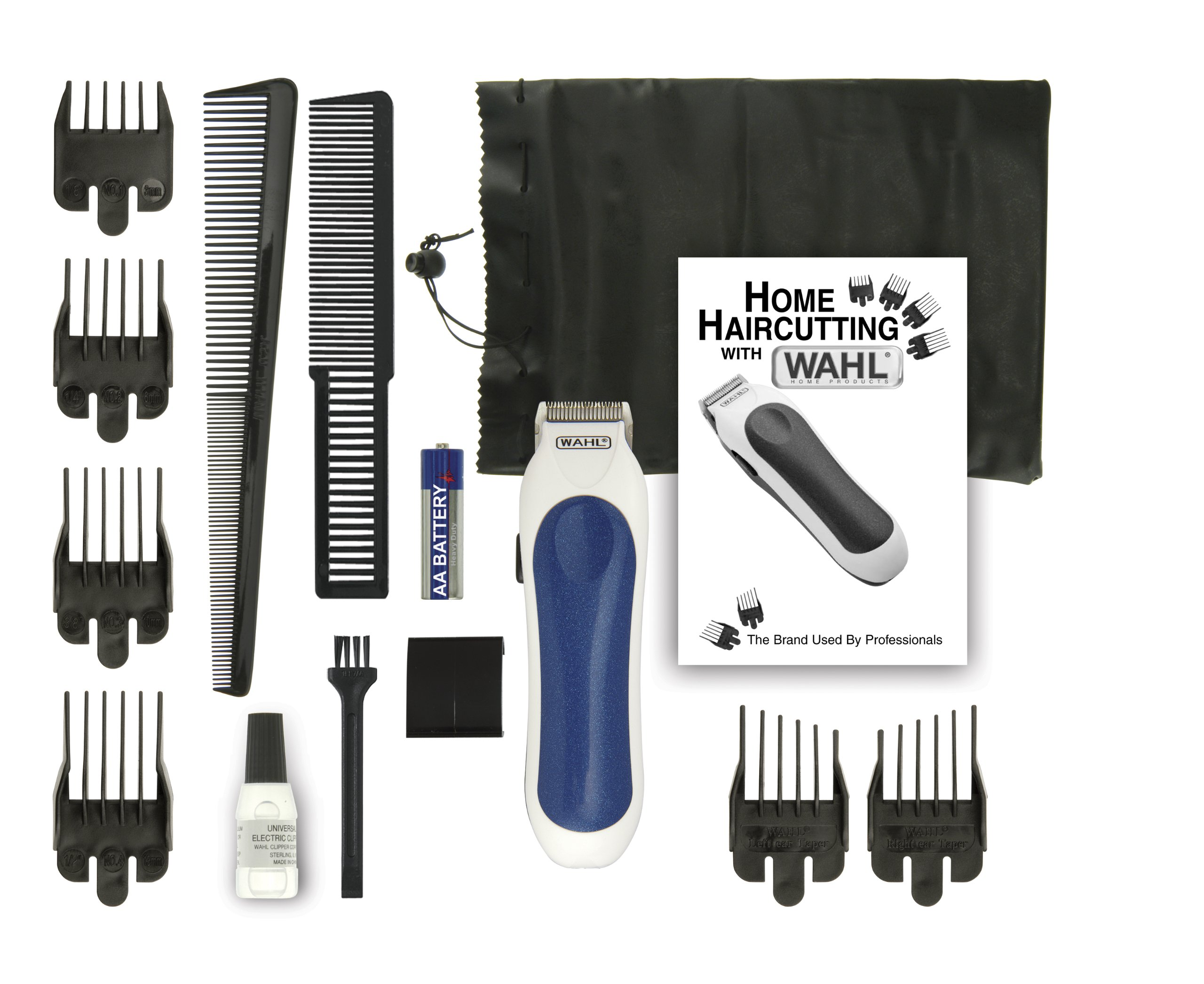 Wahl 9307-1101 Cordless Mini Pro 14 Piece Touch-up and Trim Haircutting Kit, White/blue