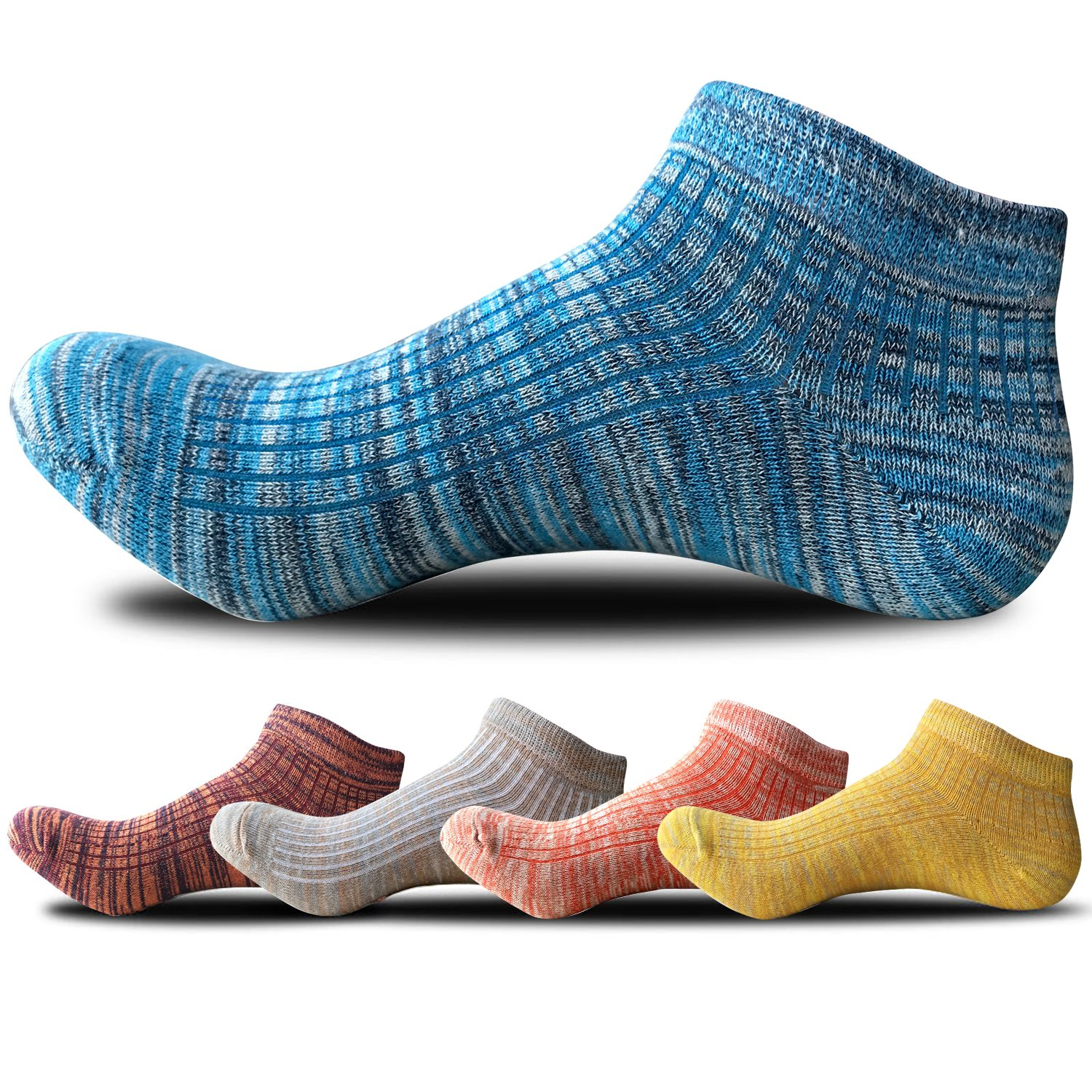 Men's Ankle Crew Socks Low Cut Causal Socks 5 Pairs(Assorted Color) by TuSocks