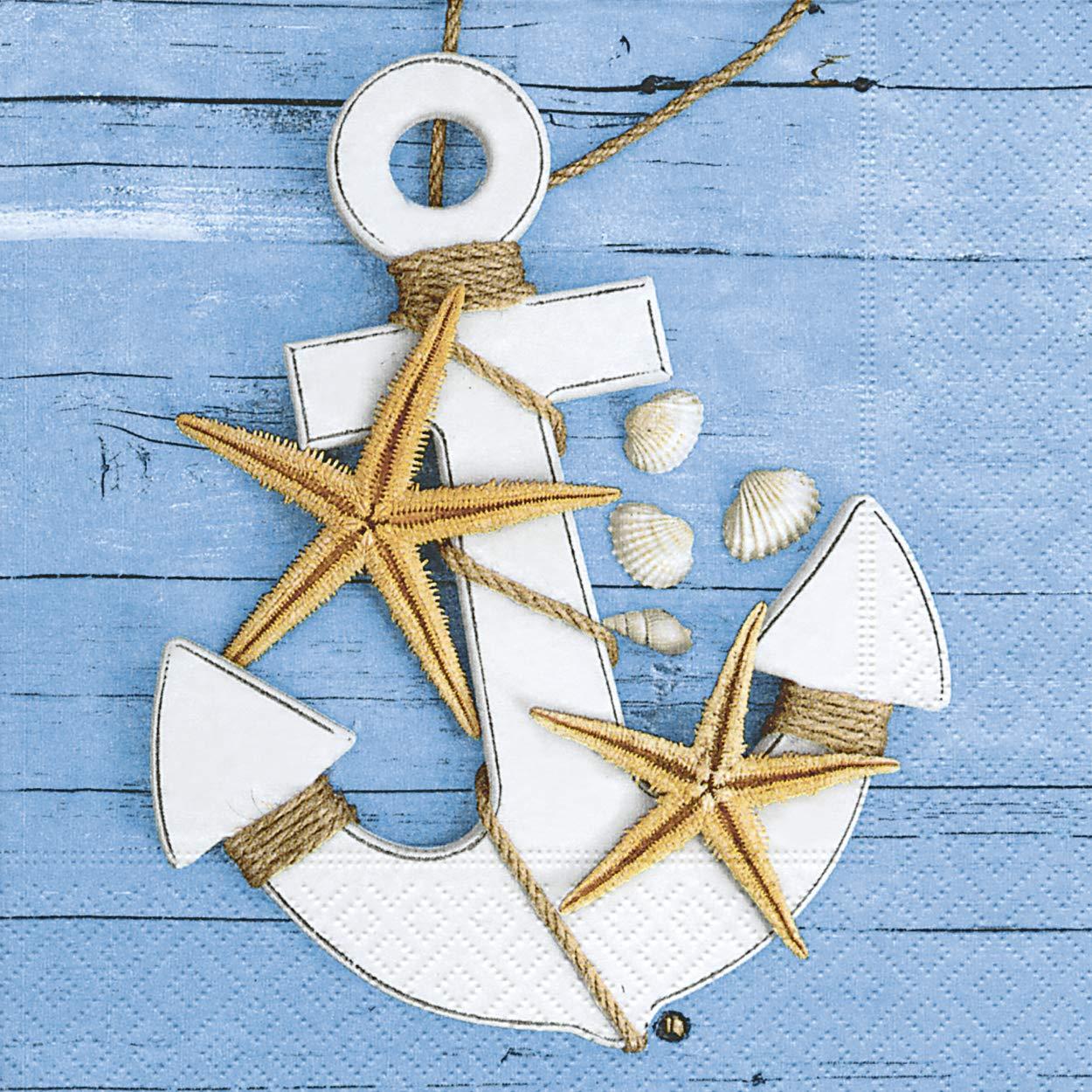 100 Stück Serviette Maritim in blau aus Tissue 33 x 33 cm Leuchtturm