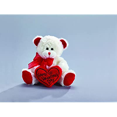 "Happy Valentine's Day Bear 8"" Animal Plush- White with Red Message Pillow: Baby"