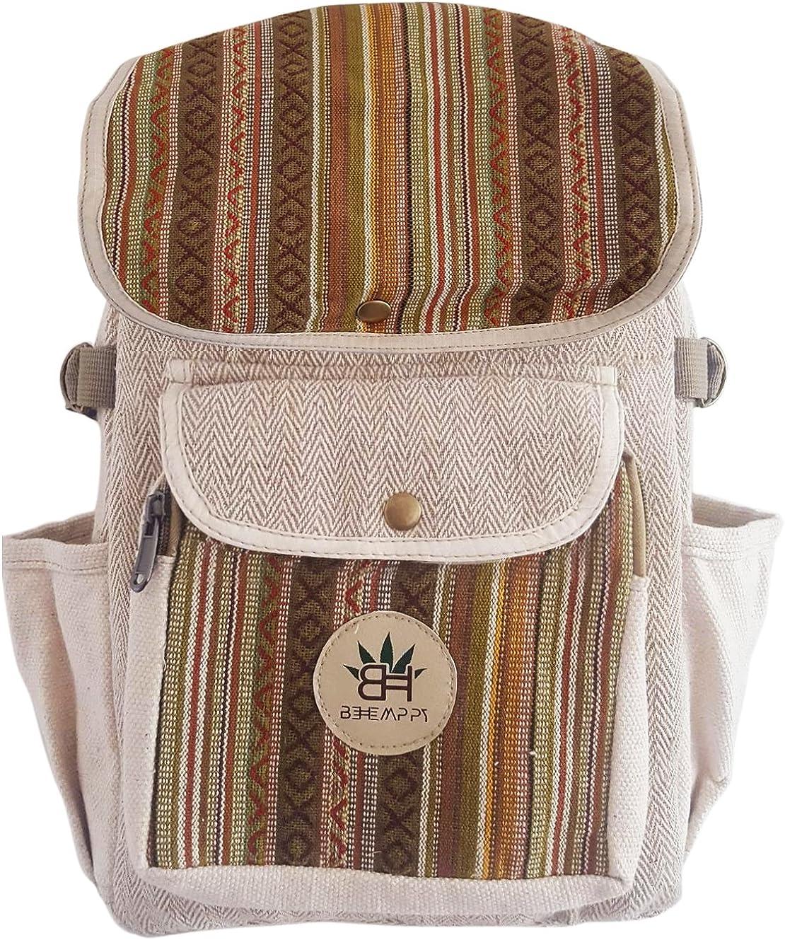 Pure Hemp Rasta Stripe Handmade Himlayan Backpack with Laptop Sleeve - Fashion Cute Travel School College Shoulder Bag/Bookbags/Daypack/Unisex Backpack