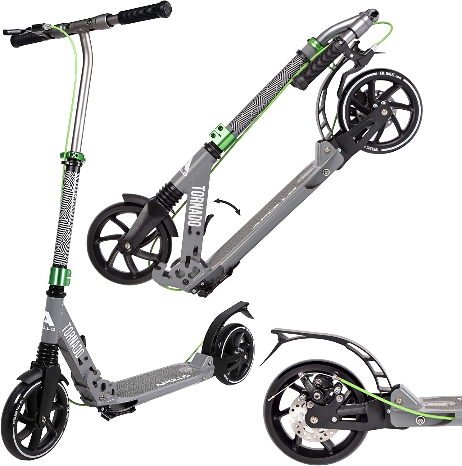 Apollo High End Scooter Tornado City Scooter With Brake And Suspension City Scooter Foldable And Height Adjustable Kick Scooter For Adults And Children Grey Sport Freizeit