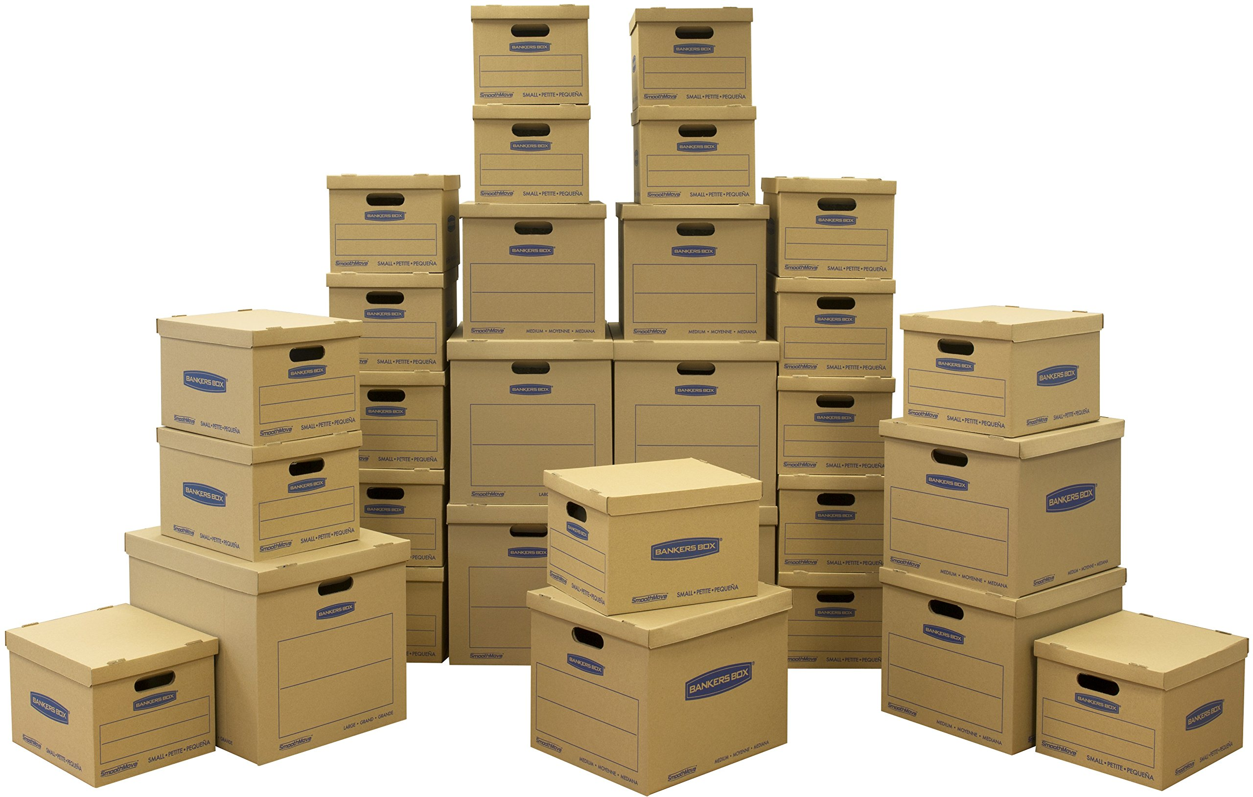 Bankers Box SmoothMove Classic Moving Kit Boxes, Tape-Free Assembly, Easy Carry Handles,)20 Small 5 Medium 5 Large, 30 Pack (7716501 by Bankers Box