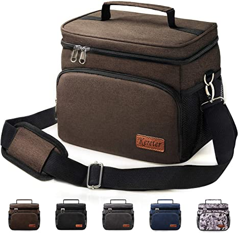 Reusable Lunch Box for Office Work Picnic Beach Insulated Lunch Bag for Women//Men Leakproof Cooler Tote Bag Freezable Lunch Bag with Adjustable Shoulder Strap for Adult