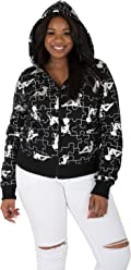 2a41aae05b4dc8 Sweet Vibes Junior Womens Plus Sizes CVC Fleece Hoody Zip Jacket Allover  Foil Print