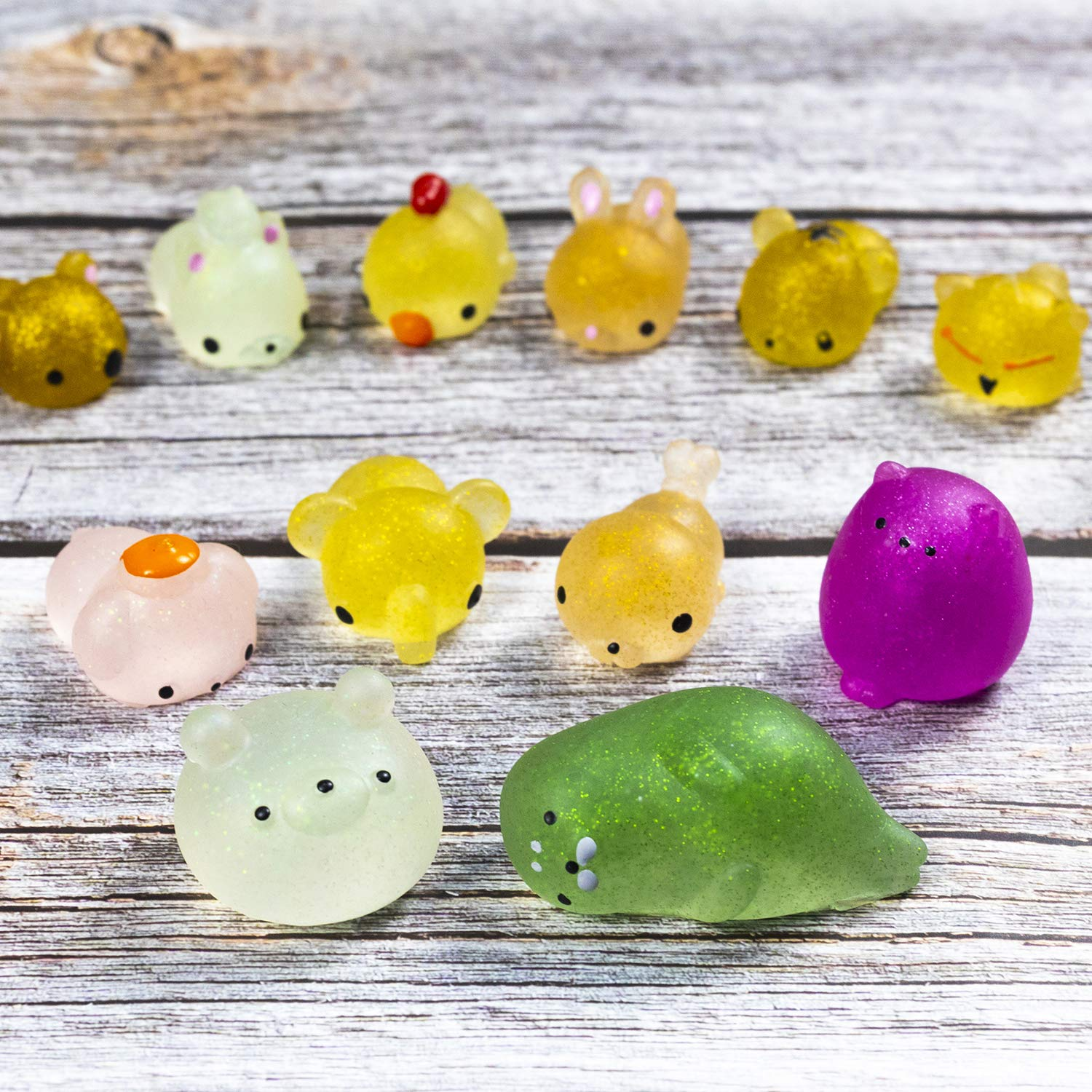 WATINC 50 Pcs 2nd Generation Mochi Squishies Glitter Mini Soft Cute Animal Cat Squeeze Squishies for Kawaii Party Favor Kid Toys Colorful Decoration Simulation and Lovely Stress Relief Hand Toys