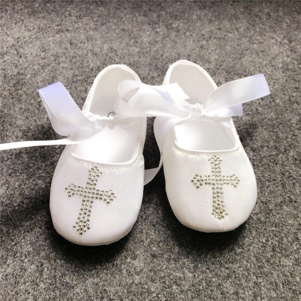 Dollbling Blanc personnalis/é Strass /éblouissant Croix Chaussures de B/éb/é en Satin pour Le Bapt/ême Nuptiale Fille de Fleur