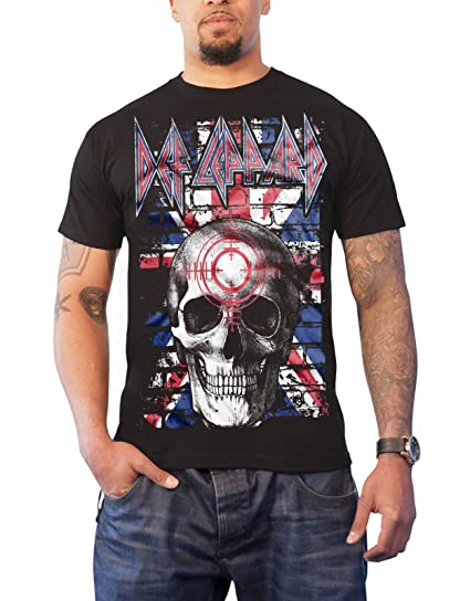 Official Def Leppard Union Jack Skull T-shirt - S to 5XL