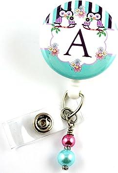 Personalized Floral Monogram Beaded ID Name Badge Reel