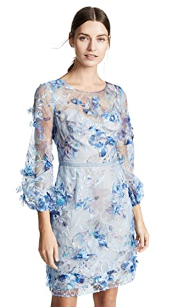 9d20fe82 Marchesa Notte Women's Embroidered Cocktail with 3D Flowers, Light Blue, ...