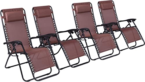 Naomi Home Zero Gravity Lounge Patio Outdoor Recliner Chairs Brown Set of 4