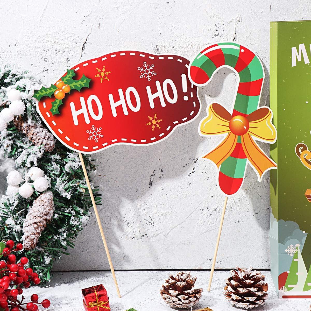 Tinksky Weihnachtsfeier Foto posiert Requisiten Weihnachten Selfie Photo Booth Requisiten f/ür Weihnachten Thema Foto Zubeh/ör 21PCS