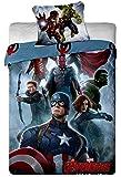 Parure de lit Avengers Hulk, Iron-Man, Captain America, Thor - Housse de couette réversible lit 1 personne coton