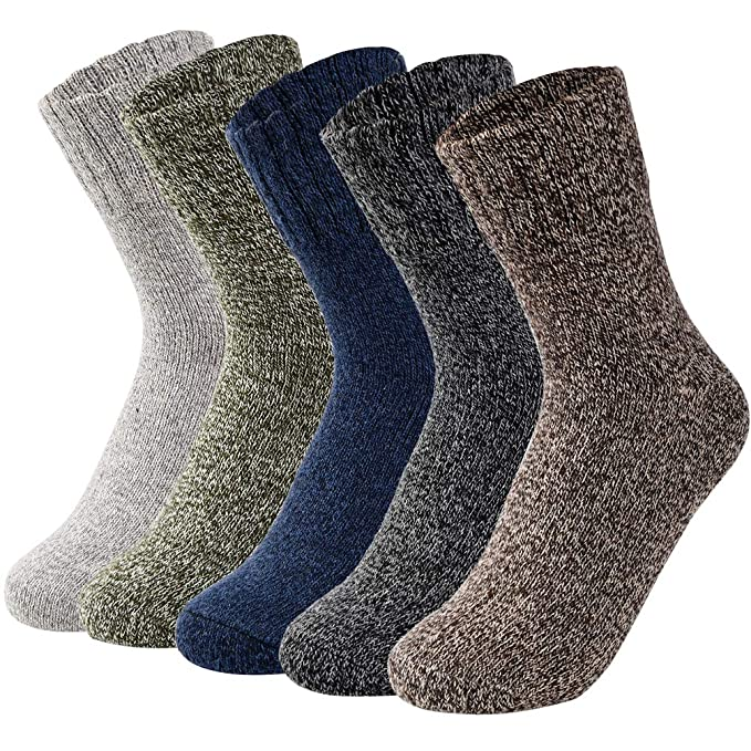 VBIGER Womens Knit Winter Socks Vintage Warm Long Crew Casual Socks 5 Pack
