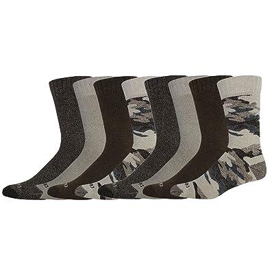 Dickies Men's Camo and Marl All Season Moisture Control Crew Socks, Natural, 8 Pair at Men's Clothing store