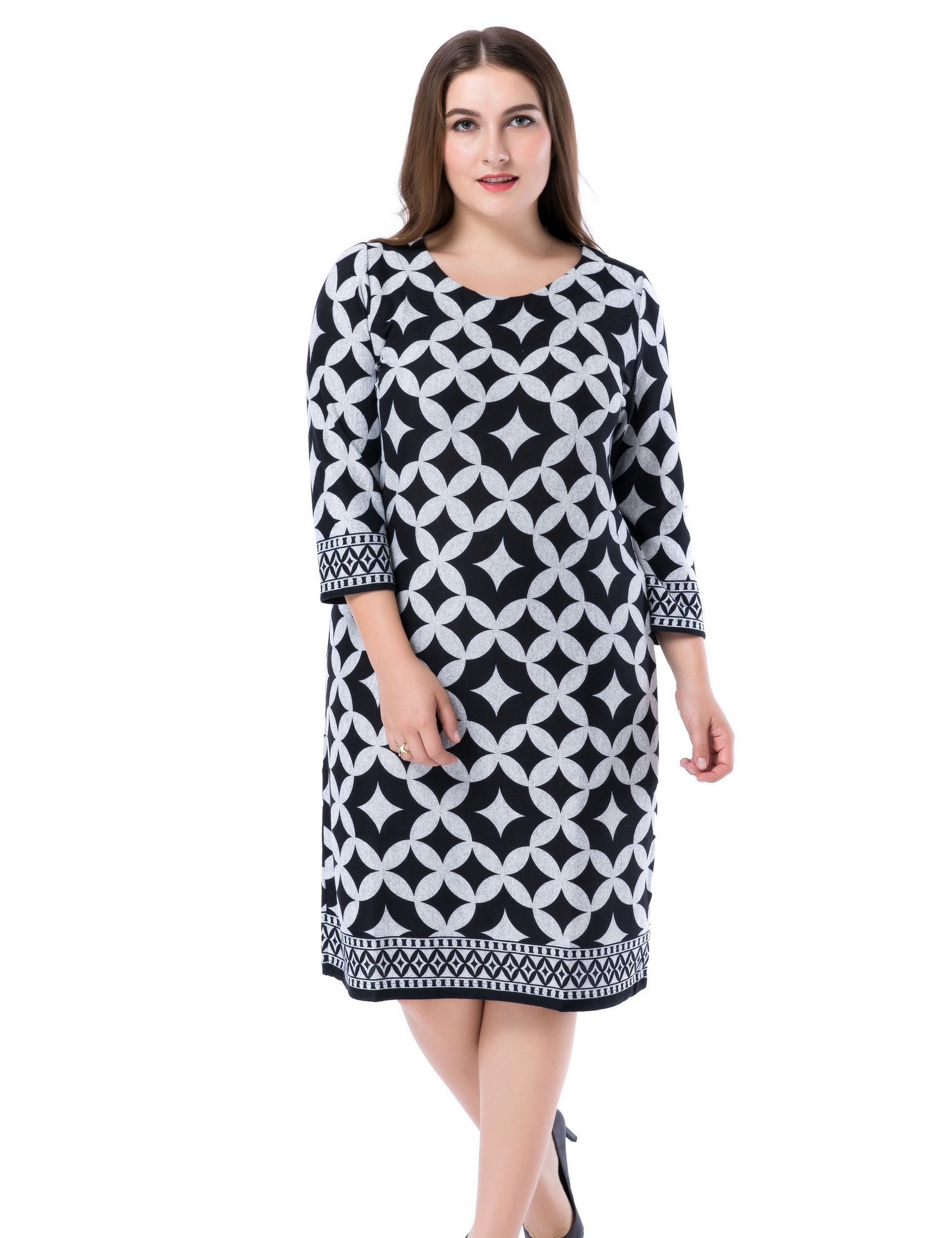 Chicwe Women\u0027s Plus Size Cashmere Touch Printed Shift Dress , Knee Length  Work and Casual Dress Grey 22