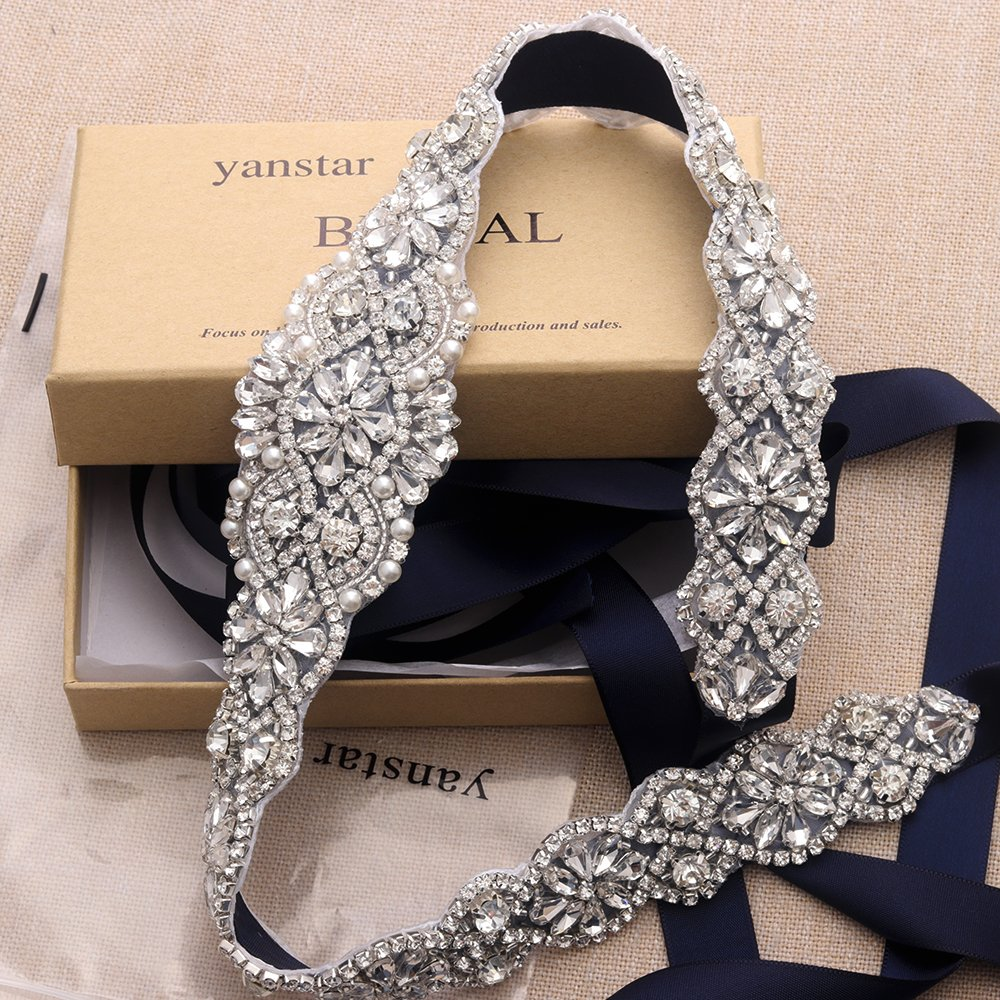 Yanstar Navy Bridal Belts For Wedding Gowns Handmade Silver Crystal Beads Sashes Belt For Bridal Dress by yanstar (Image #2)