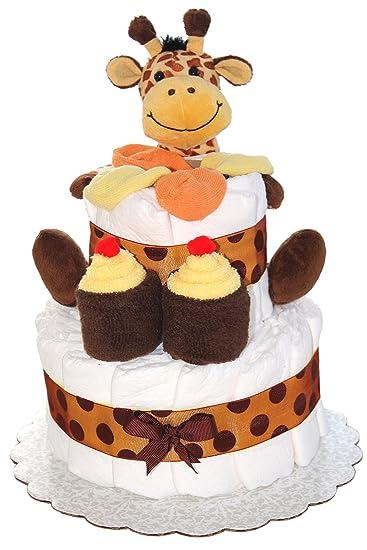 Amazon.com: 2 Tier Mini pañal Pastel con jirafa, Safari: Baby