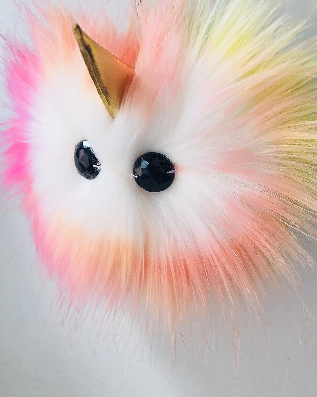 8fa473a13af6 Amazon.com: Rainbow Pom Pom Purse Charm Keychain Bag Accessory ...