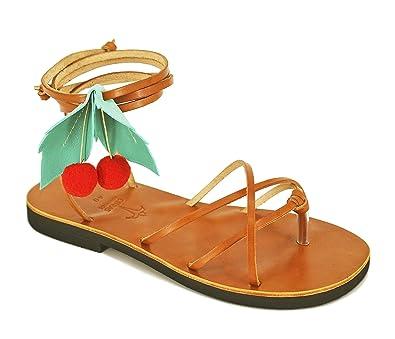 1d502f417f888 Calpas Pom Pom Leather Sandals, Handmade Sandals, Lace Up Sandals ...