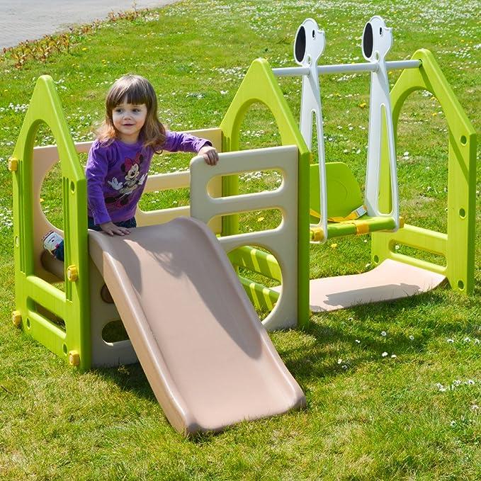 LittleTom Casa de Juegos 155x135cm para niños y niñas de 1 a 4 años Incl Tobogán Columpio Paneles de Escalada Beis Verde marrón: Amazon.es: Juguetes y ...