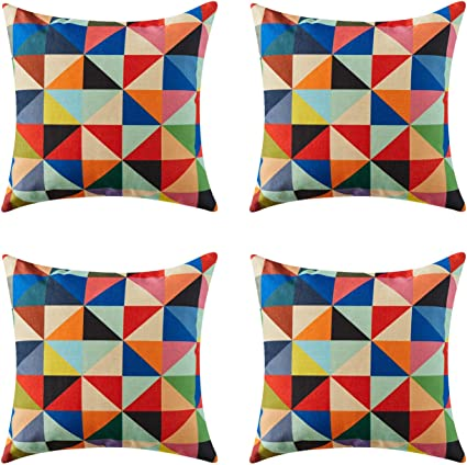 Topfinel Colorful Geometric Cushion Cover Cotton Linen Home Decorative Square For Sofa Throw Pillow Case 18 X 18 Inch 45cm X 45cm Pop Art Stlye Triangle 4 Pack Amazon Co Uk Kitchen Home