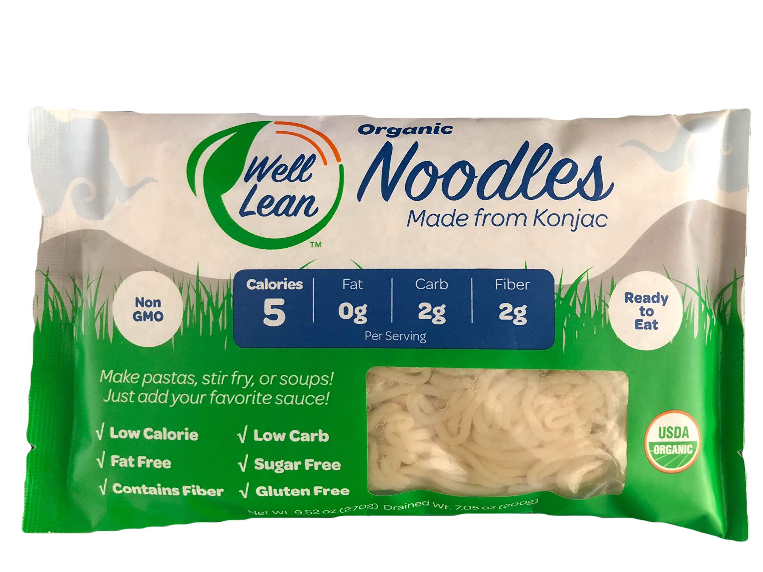 Organic Well Lean Noodles (6 Pack/57.1 oz) - Premium Shirataki [Ready to Eat, No Boiling, ODOR FREE, Non-GMO] - LOW CALORIE, LOW CARB - Gluten Free, Vegan, Keto - Premium Konjac Pasta