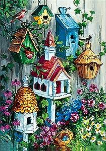 "Briarwood Lane Birdhouse Garden Spring Gathering Flag Floral Birds 12.5"" x 18"""