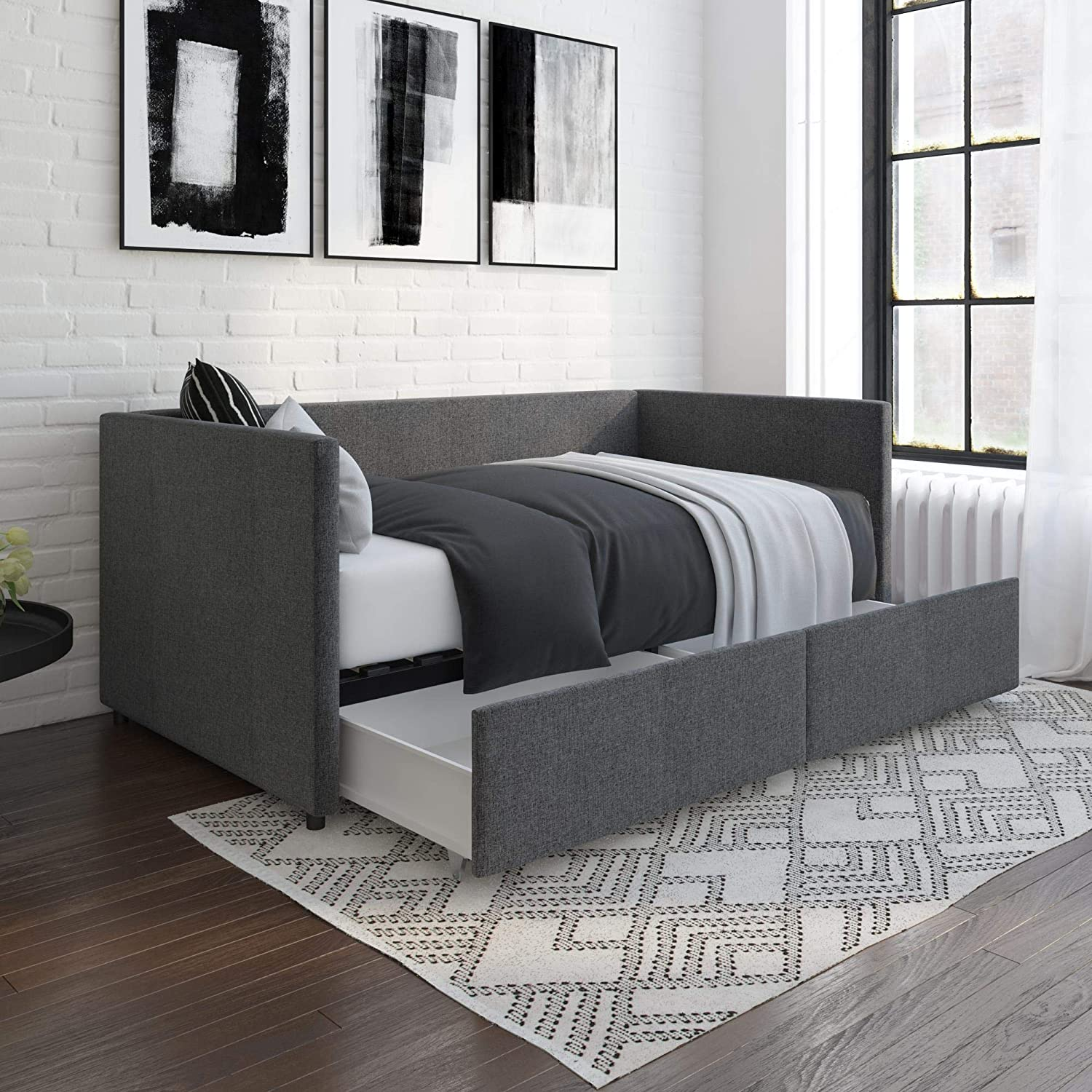 DHP Theo Urban Daybed with Storage Drawers, Small Space Furniture, Grey Linen