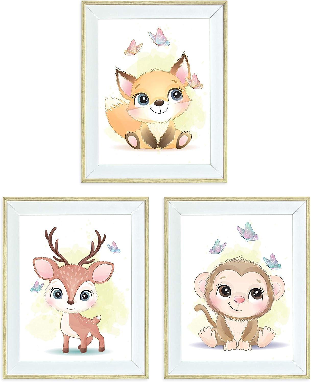 Framed Nursery Wall Art Animals Fox Deer Monkey for Boy or Girl Baby Room Wall Decor, 10