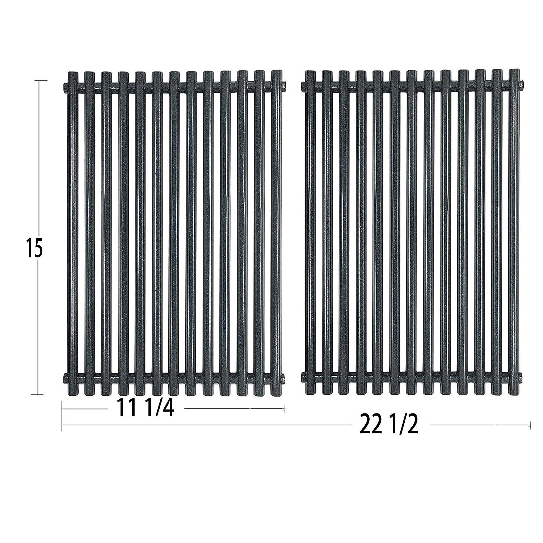 """Htanch PG521 (2-Pack) Porcelain Steel Cooking Grid Grates for Weber Spirit E-210, Spirit S 200 & 210, Genesis Silver A, Spirit 500 Gas Grills, 7521 65905 7522 7523 65904 (15"""" x 22 1/2""""Porcelain Steel)"""