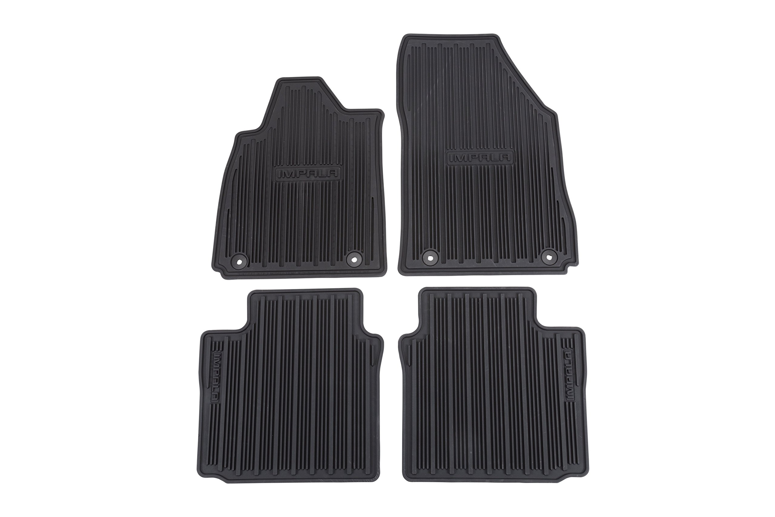 GM Accessories 22759780 Front and Rear All-Weather Floor Mats in Jet Black with Impala Logo