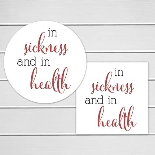 wedding favor labels in sickness and in health stickers hangover kits favor stickers