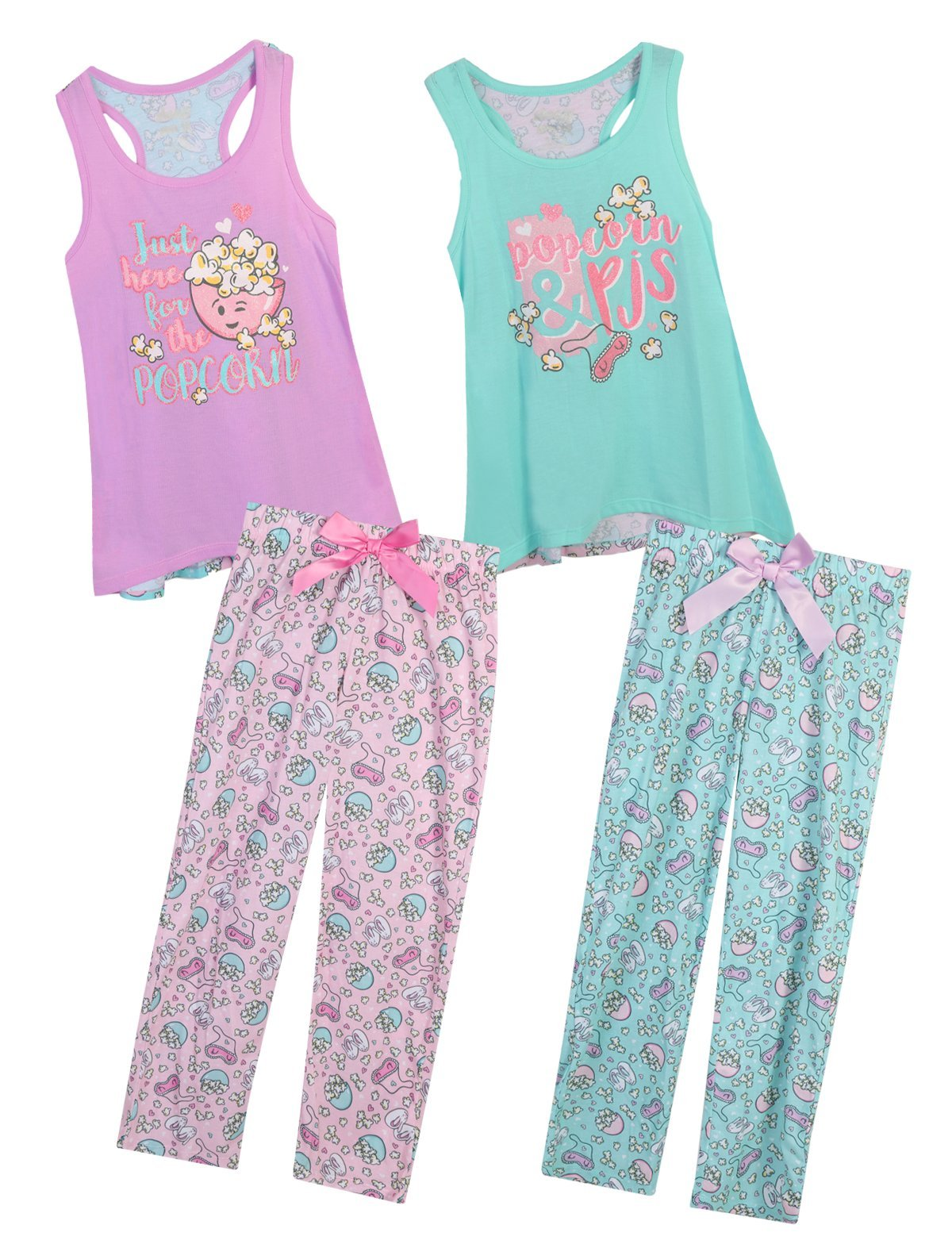 Sleep On It Girls 4 Piece Tank Top and Pant Spring Pajama (2 Full Sets) Popcorn, Size 10/12'