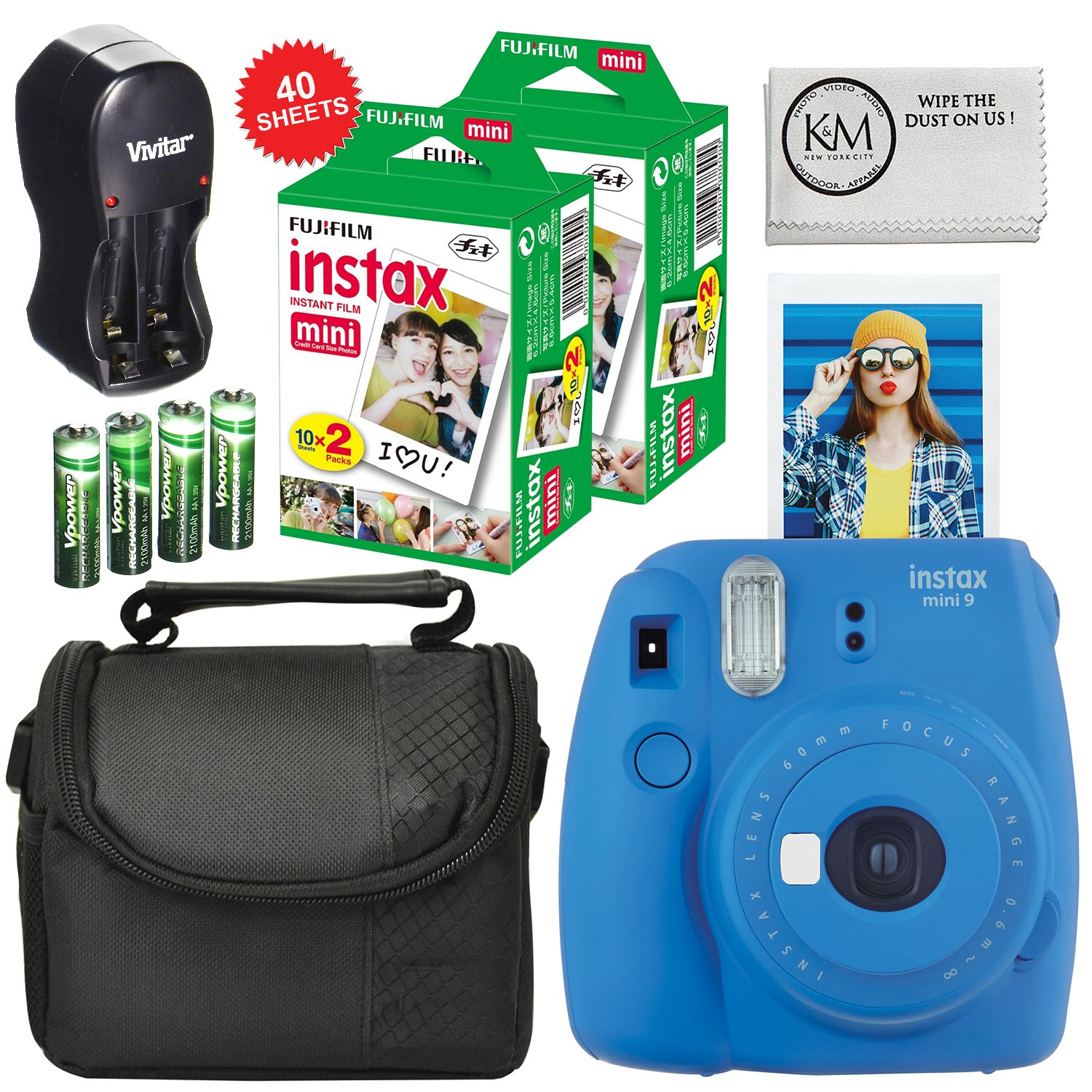 Fuji Instax Mini 9 Camera Cobalt Blue + Carry Case + Rechargeable AA Batteries & Charger + Instax Mini Film (40 Sheets) by K&M