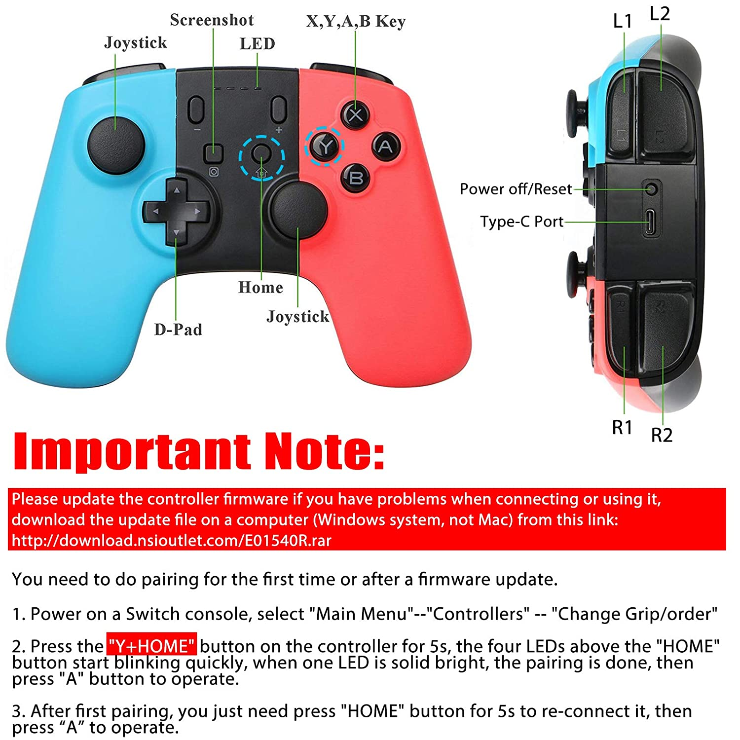Sunjoyco Wireless Remote Pro Controller Joypad Gamepad Once Attached They Look Part Of The And Not An For Nintendo Switch Console Blue Red Computers Accessories
