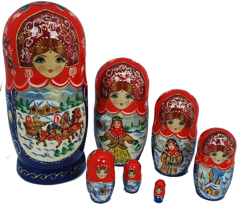 Gabriella s Gifts Authentic Russian Hand Painted Handmade Troyka Horses Nesting Doll 7 Pcs Matryoshkas Artist Signed