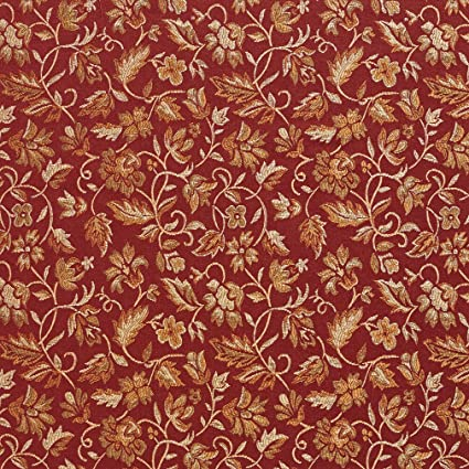 Amazon Com E619 Floral Red Gold And Green Damask Upholstery And