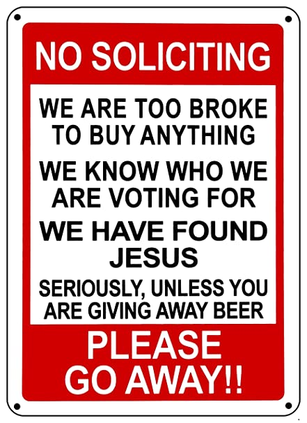 Amazon No Soliciting Funny Sign Go Away Front Door Novelty