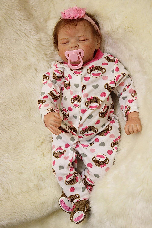 Amazon Com Npkdoll Sleeping Realistic Reborn Baby Dolls Girl Cute Soft Vinyl Silicone Dolls Weighted Baby Reborn Dolls Handmade Newborn Baby Dolls With Clothes Toys Games