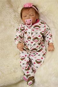 NPKDOLL Sleeping Realistic Reborn Baby Dolls Girl Cute Soft Vinyl Silicone Dolls Weighted Baby Reborn Dolls Handmade Newborn Baby Dolls with Clothes