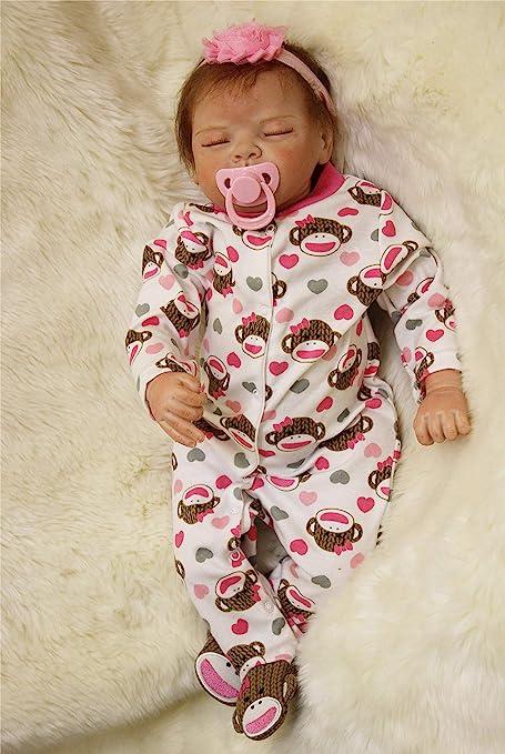 Reborn Baby Dolls Newborn Lifelike Handmade Silicone Vinyl Sleeping Girl Doll