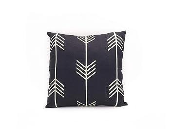 Amazon.com: Artsybb - Funda de cojín de lino blanco y negro ...