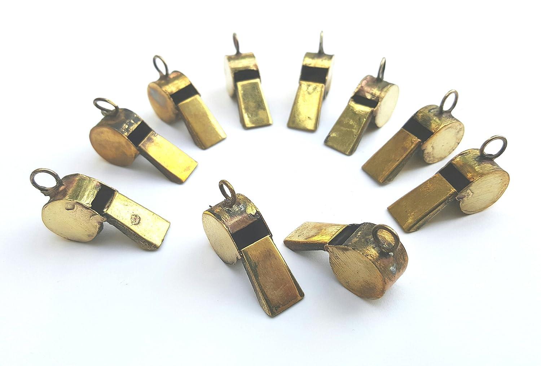rawsimpl Whistle Brass Miniature Handmade Set of Ten