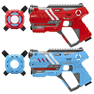Best Choice Products Set of 2 Laser Tag Blasters w/ Vests, Backwards Compatible - Red/Blue: Toys & Games